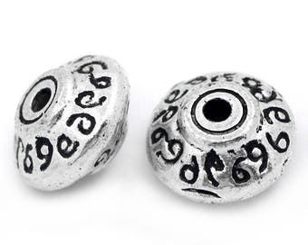 2 beads spacer engraved pattern 7mm round