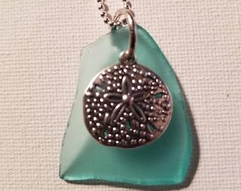 Aqua sea glass pendant with sand dollar charm, beach glass, ocean, summer