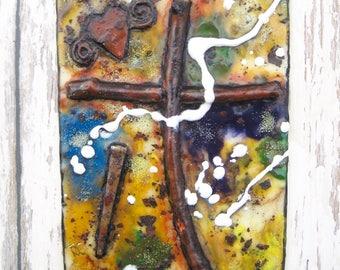 Easter Gift, Easter Decor, Encaustic Art, Encaustic Painting, Encaustic Cross, Religious Encaustic, Wax Art, Wood Cross, Nail, Rustic Cross