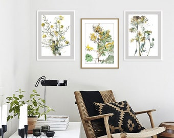 Flowers Watercolor Print, Botanical Watercolor Set Of 3, Wildflowers  Painting, Living Room Wall Art, Yellow Wall Decor, Dining Room Wall Art