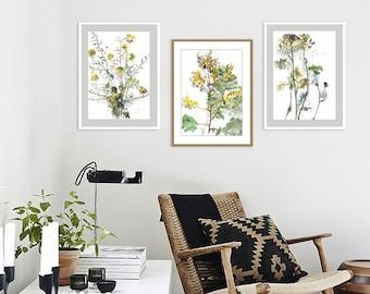 Flowers Watercolor Print, Botanical Watercolor Set Of 3, Wildflowers  Painting, Living Room Wall