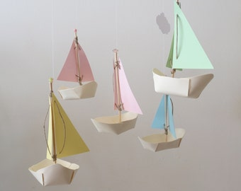 Sailboat Mobile - Baby Mobile, Home Decor, Nautical, Nursery Mobile, Boats, Paper Sailboats, Boy Mobile, Hanging Mobile