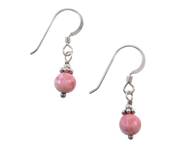 Pink Rhodochrosite 6 mm Drop Earrings