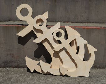 12 to 16 inch Size - Wood Anchor DIY unfinished sanded and ready for paint- Wood Sign- Beach Anchor