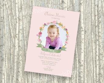 Watercolor Wildflower Floral Wreath Whimsical Girl Birthday Invitation - set of 10, 25 OR Digital Printable File