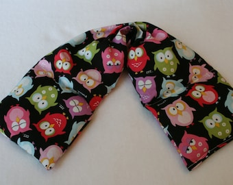 Heating Pad, Rice Heating Pad, Hot Cold Wrap, Microwave Heating Pad, Flax Seed, Scented or Unscented -Owls