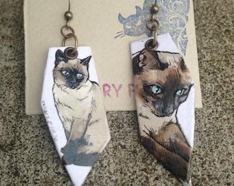 Hand-painted Siamese cat earrings
