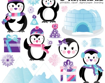 Pinky Penguin Digital Clipart - Personal & Commercial Use - Winter Wonderland, Christmas Graphics, Snowflake Images