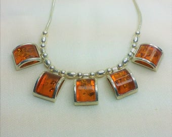 Amber and Silver Modern Necklace