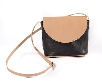 Black + Natural Leather Crossbody