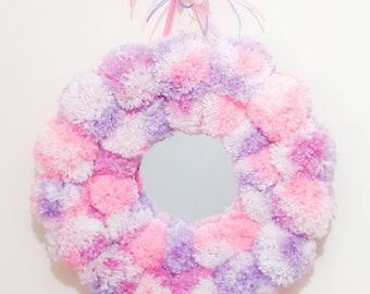Pom pom mirror,unicorn colours, pom pom hanging,wall hanging mirror, nursery decor,wall decor,girls room decor,baby room decor, party decor