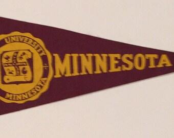 Circa 1940's University of Minnesota Mini Pennant - Antique College Memorabilia