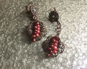 Bronze Hibiscus Drop Petal Earrings with Burgundy Pearls by Denise's Creations
