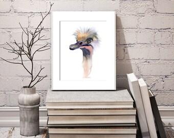 Ostrich art bird Original Watercolor Painting gift Funny bird portrait wall decor Watercolour artwork Whimsical ostrich