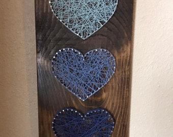 Hearts String Art Sign