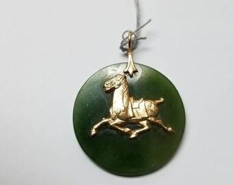 Jade horse pendant on leather cord necklace natural ivory 14kt jade horse pendant aloadofball Choice Image