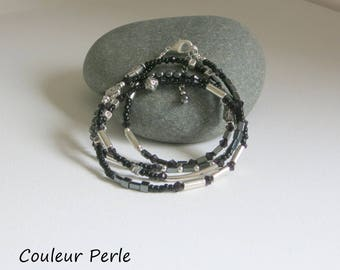 Black and silver, bracelet beads stone natural hematite seed beads black, silver beads, fine jewelry.