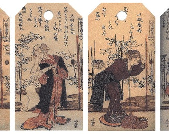 12 Shipping (Gift) Tags by Hokusai Bijin (Women) 011