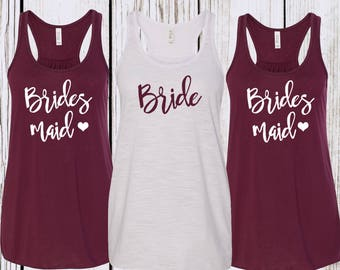 Maroon Bridesmaid Tank top Bachelorette Tank Tops Bridal Party Shirts Bridesmaid Tank Tops Bride Tank Top Bride Shirt Bridal Party