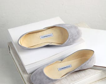 The Suede Ballet Flats in Siberian Gray | Pointe Style Shoes | Classic Model | Standard Width | Siberian Grey | Ready to Ship