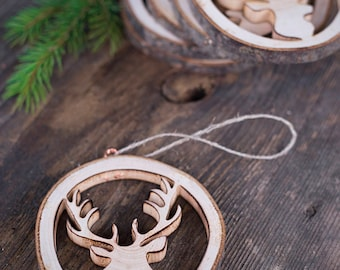 Corporate gifts for Christmas, Christmas ornaments, rustic wood Christmas tree decorations, wood antlers, handmade rustic Christmas gift
