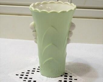 Vintage Mint Green Art Deco Glass Vase Fire King Vitrock Milk Glass Flower Vase Spring Easter Pastel PanchosPorch