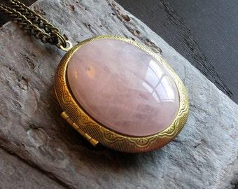 Large pink quartz locket, gemstone locket necklace, antique brass locket, large locket, long necklace, holiday gift idea, gift ideas for mom