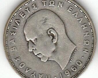 1960 Greece 20 Drachmai Silver Coin