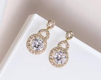 Wedding Jewelry Gold Earrings Drop Earring Bridal Accessory Crystal Earrings Gold Bridal Jewelry Wedding Earrings Round Halo Earrings E201-G
