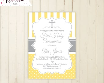 yellow communion invitation neutral first communion invitation boy communion yellow and grey baptism invitation polka dots invitation 168