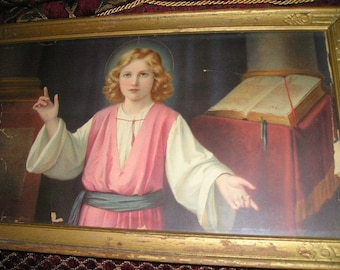 Vintage Religious Boy Jesus Christ w/Elders.Old Art Deco Picture/Lithocraph Framed w/Glass Very Nice.