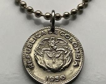 1956 Colombia 10 centavos coin pendant Colombian flags Andean condor Bogota Medellin Cali Barranquilla Cartagena Columbia n001254