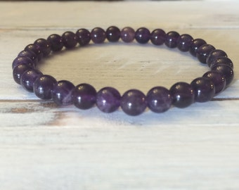 6mm Amethyst Bracelet, Small Bead Stacking Bracelet, February Birthstone, Wrist Mala For Overcoming Fear, Addiction, Heightens Spirituality