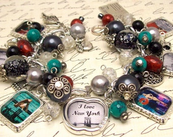 New York Charm Bracelet Jewelry, I Love New York, Photo Charm Bracelet, Picture Charm Bracelet, Altered Art Charm Bracelet