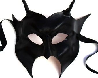 Devil Mask, black Leather, Horned, Handmade UK