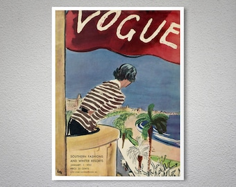 Vogue Cover January 1932 - Vintage Vogue Poster - Poster Print, Sticker or Canvas Print / Gift Idea