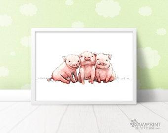 Three Little Piggies - Triplets nursery animal art, Baby pig nursery decor gift for triplets, Farm animals nursery, Farm nursery pig print