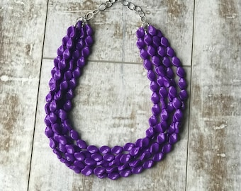 Ultra Violet Statement Necklace, Purple Beaded Necklace, Statement Necklace, ACRYLIC Necklace, Etsy Wedding Jewelry, Bridesmaid Necklace