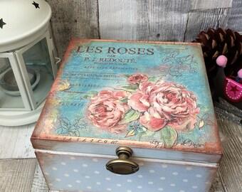 Les Roses, Vintage Tea Box, Shabby Chic, Decoupage