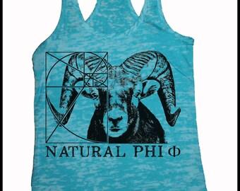 Women's Big Horn Sheep Natural Phi Golden Ratio Screen Printed Shirt Turquoise Black
