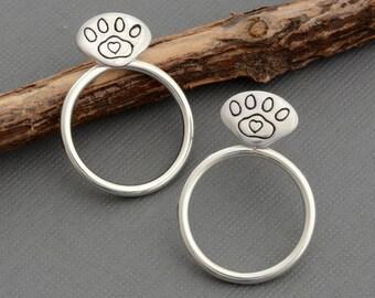 Ear jacket earrings animal cat dog paw print stud post earrings paw print jewelry sterling silver front back double two sided earring rescue