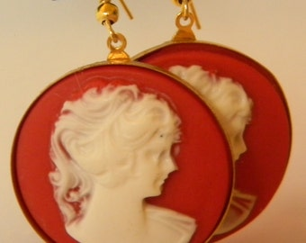 Red RoundVintage Style Cameo Lady Victorian  Cabochon Earrings
