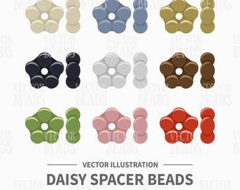 Vector Clipart Pack of Daisy Spacer Beads - Instant Download