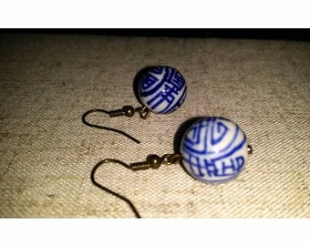 Blue and White Orient Round Bead Drop Earrings