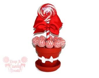 Medium Red Lollipop Centerpiece, Christmas Wedding Centerpiece, Valentines Day Candy Centerpiece, Red Quinceanera Centerpiece, Red Candy