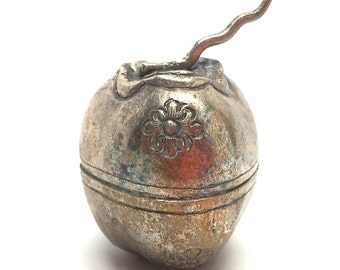 Silver Pomagranate Box, Fruit, Apple, Collectible, Jewelry, Ring Box, Trinket, Handmade Keepsake, Cambodia, Repousse, 90% Silver