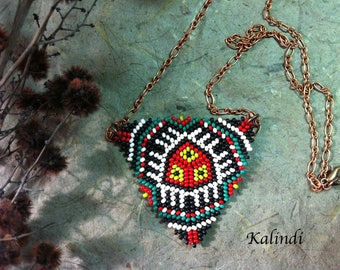 Peyote Necklace, Large Necklace, Beaded Necklace, Native American Beaded Necklace,Necklace with Peyote, Native American Style Beadwork.