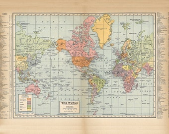 Vintage world map etsy world map gumiabroncs Choice Image