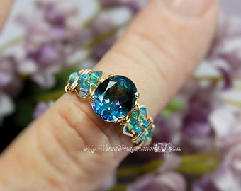 Peacock Blue Mystic Topaz, Mystic Topaz Ring, Wire Wrap Ring, Rainbow Blue Mystic Topaz Ring, November Birthstone, Unique Engagement Ring
