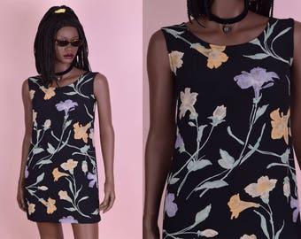 90s Floral Print Mini Dress/ P Small/ 1990s/ Tank/ Sleeveless